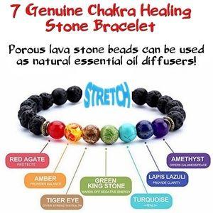 7 Genuine Chakra Healing Stones Bracelet NWT